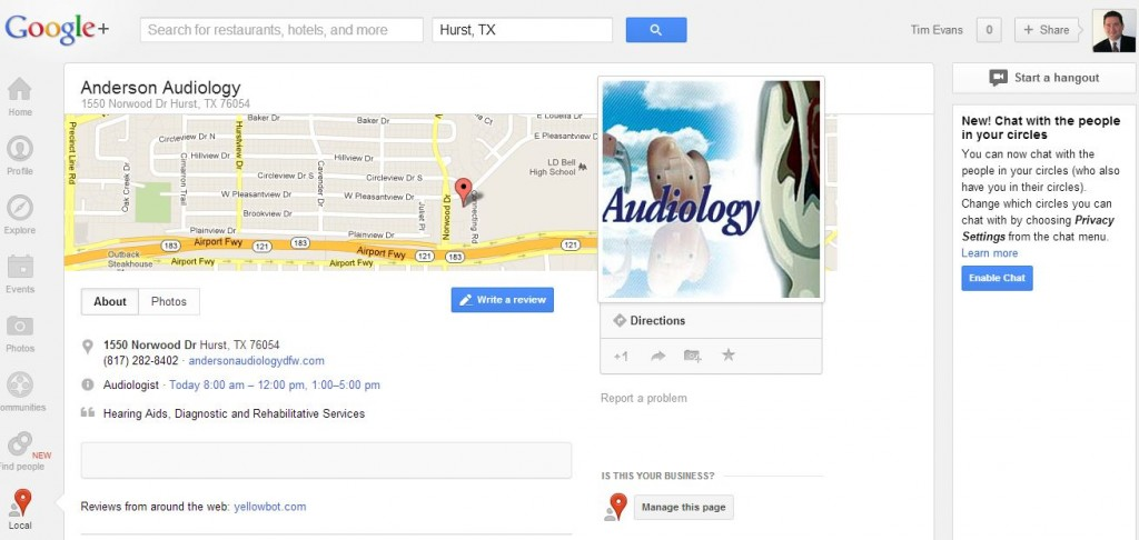 Snapshot of previous Google Places layout
